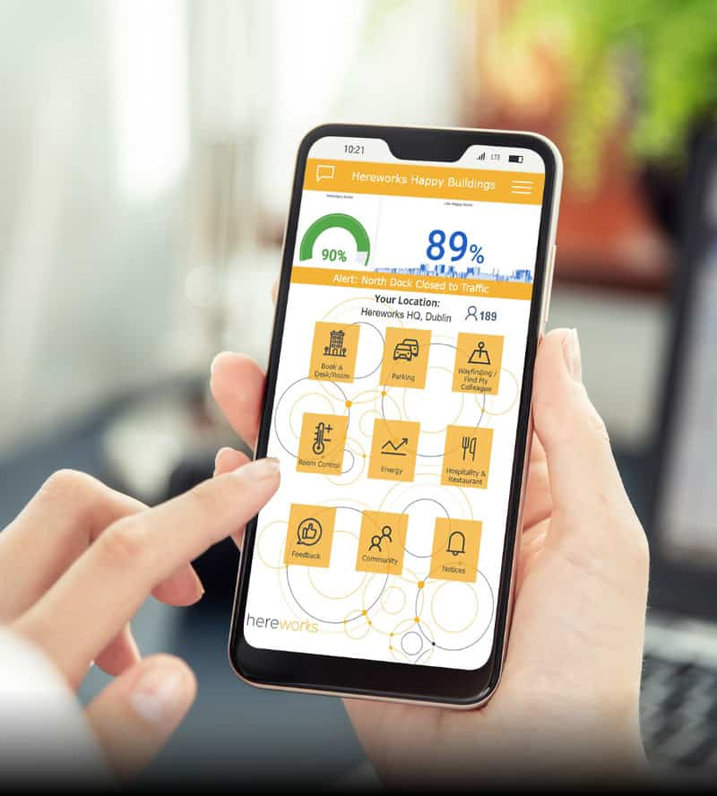 hereworks happy buildings app interface shows alerts and allows the user to book a desk or room, get information on parking, wayfinding, room control, energy, restaurants, feedback, community and notices